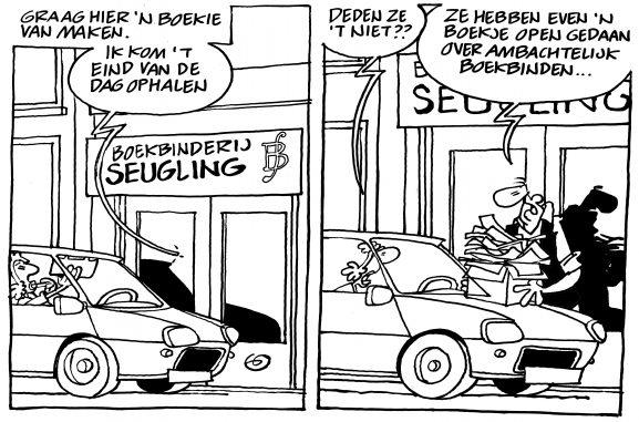 Boekbinderij Seugling Amsterdam, een cartoon van Gerrit de Jager, boekje open over ambachtelijk boekbinden, www.handmadebooks.nl, www.uitgeverijlimitededitions.nl, handgemaakte boeken, dozen, portfolio, gedenkboeken, printen en binden